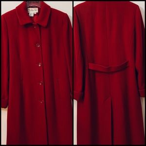 Talbots Long Wool Lined Red Coat Size 8